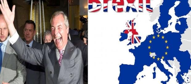 Nigel Farage festejando la victoria del Brexit.