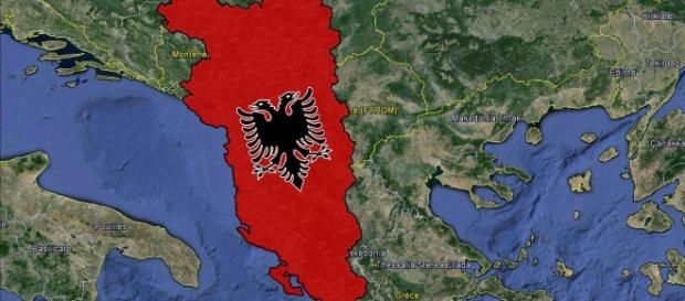 A satellite map of the areas where ethnically Albanians have and continue to live