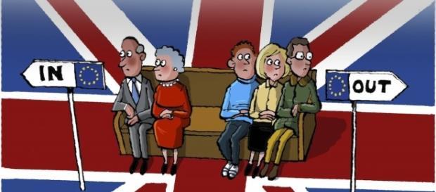 Dibujo que representa a ancianos y jóvenes británicos ante tener que elegir quedarse o irse de la UE.