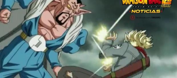 Trunks y Dabura en un flashback