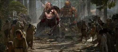 Imagem dos gigantes da bíblia que aparecerão na novela da Record