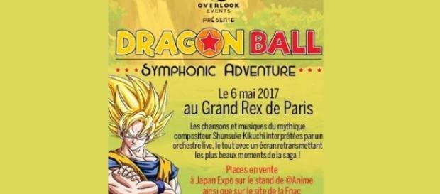 Cartel promocional Concierto Dragón Ball en Francia.