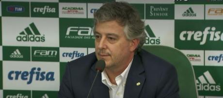 Paulo Nobre, presidente do Palmeiras, em entrevista na Academia de Futebol.