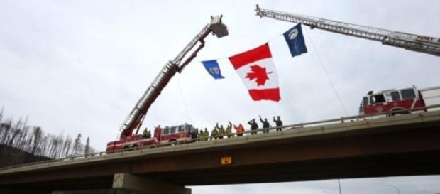 Camiones de bomberos con banderas canadienses