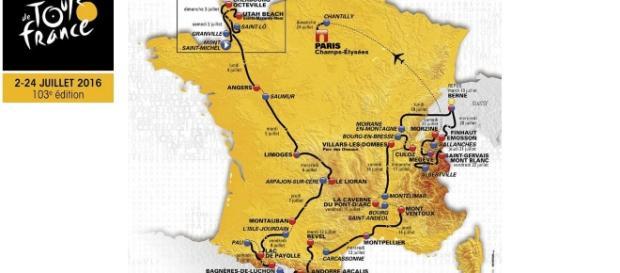 Mapa da 103ª edição do Tour de France