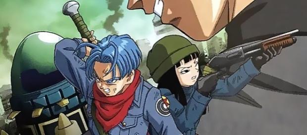 """Imagen promocional del nuevo arco de Trunks en el cual se observa al nuevo enemigo """"Black Goku"""""""