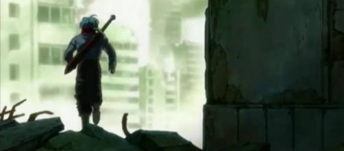 Trunks escapando del oscuro enemigo