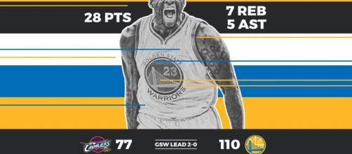 Golde State Warriors 110-77 Cleveland Cavaliers (2-0)