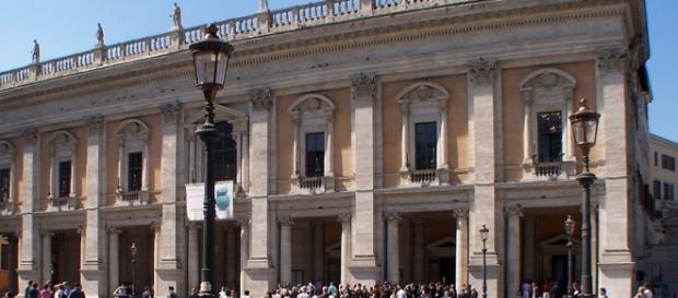 La facciata dei Musei Capitolini a Roma