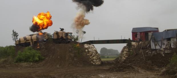 Simulation d'une attaque lors du passage d'un convoi