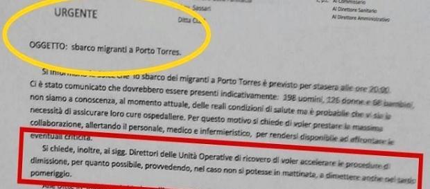 Uno stralcio della circolare inviata al personale sanitario del nosocomio di Sassari.