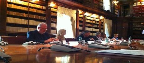 Un momento della conferenza stampa nella biblioteca del Ministero dei Beni Culturali a Roma
