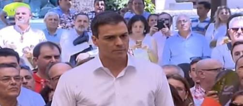 El líder socialista, Pedro Sánchez, dando un mitín el pasado fin de semana en Huelva.