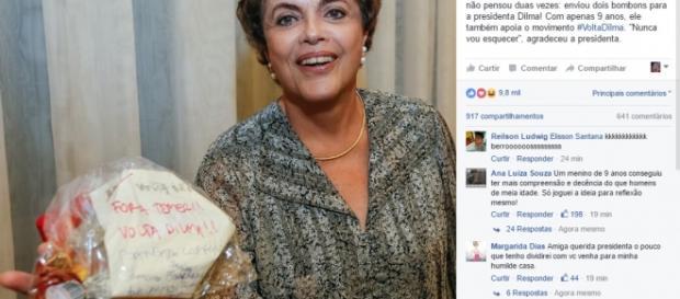 Dilma Rousseff exibe bombons dados por criança
