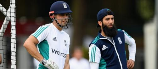 Alastair Cook and Moeen Ali ahead of the 3rd Test (Twitter)
