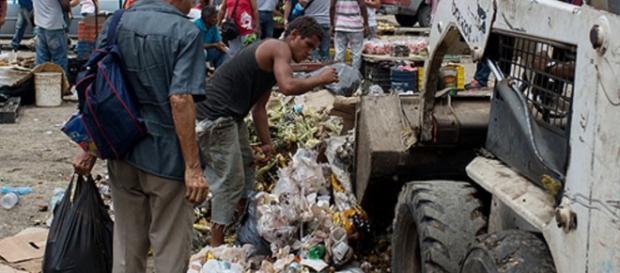 Venezuelanos disputam comida no lixo com cachorros