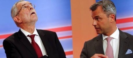 Hofer debatiendo contra su rival Alexander Van Der Bellen
