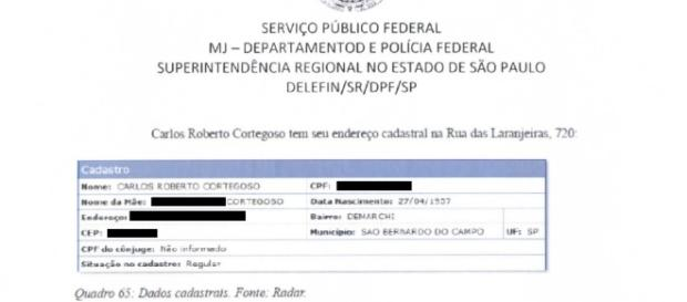 Rendimentos de Carlos Roberto Cortegoso são incompatíveis com receita mensal.