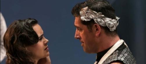 Virgilia (Amaia Arana) with her husband, Coriolanus. Photo: Jerry Dalia, courtesy of STNJ.