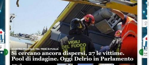 Scontro frontale treni in Puglia