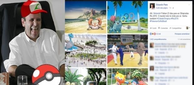 Eduardo Paes faz propaganda de 'Pokemon Go' (Fotomontagem/Internet)