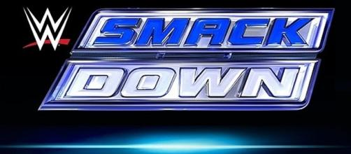 Current SmackDown logo: will we see a new one on July 19th's 2016 live show? Photo via WWE