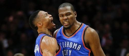 Russell Westbrook and Kevin Durant celebrate on the court / Photo via foxsports.com