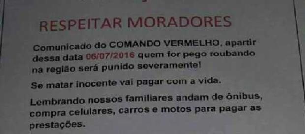 Comando Vermelho divulga comunicado para reduzir crimes na região. Crédito: Divulgação