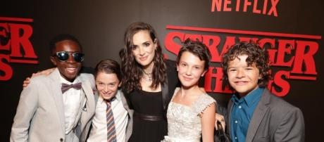 Caleb, Noah, Millie, and Gaten joined Winona Ryder on the red carpet for the premiere