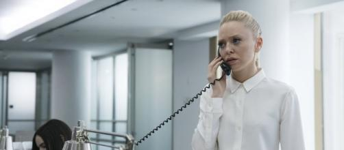 Angela talking to Bloomberg News. Photo: USA Network.
