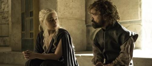 "Emilia Clarke and Peter Dinklage in the record breaking ""Game of Thrones"" via nytimes)"