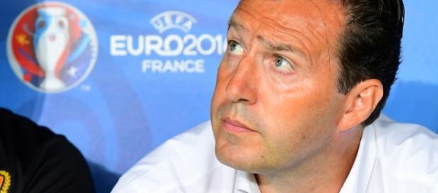 Marc Wilmots durante un encuentro de la Eurocopa de Francia
