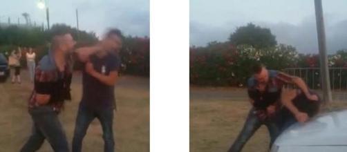 Due immagini del brutale pestaggio avvenuto nel parcheggio della discoteca Luna di San Teodoro.