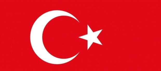 A close up of the flag of Turkey.