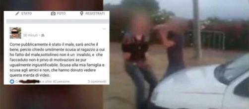 A sinistra il post di scuse di Bachisio Angius, a destra un'immagine dell'aggressione.