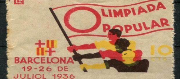 Sello de la que hubiera sido la Olimpiada alternativa de Barcelona de 1936.