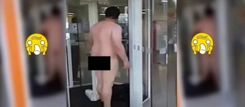 Homem se revolta e tira a roupa para poder entrar em banco