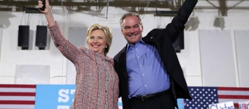 Hillary Clinton and Tim Kaine together