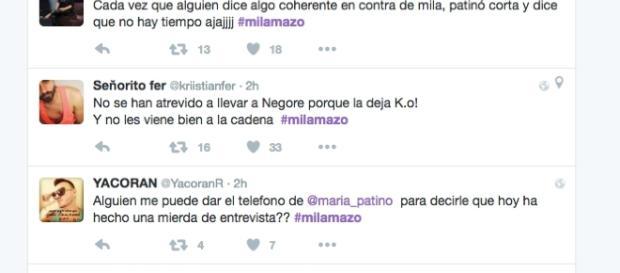Las reacciones de algunos tuiteros a la entrevista de Mila Ximénez en Sálvame Deluxe