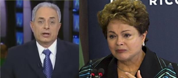 William Waack e Dilma Rousseff - Foto/Montagem