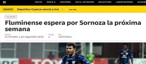 Junior Sornoza será do Fluminense em 2017 (Foto: Site Cancheros / Net Flu)