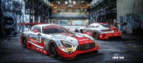 La livrea della Mercedes-AMG GT3 dell'AMG-Team Black Falcon disegnata dalla rock band californiana Linkin Park