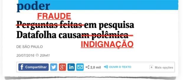 Instituto Datafolha e o jornal Folha de São Paulo foram criticados por suposta fraude