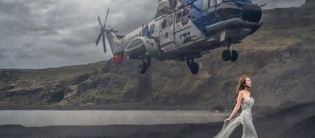 Helicóptero quase atinge cabeça de noiva em ensaio fotográfico
