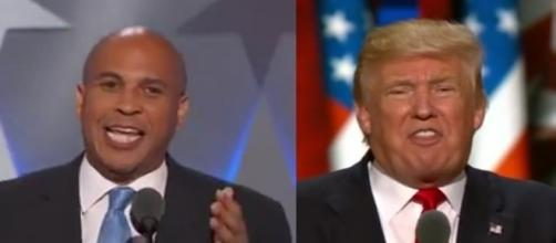 Cory Booker, Donald Trump, via YouTube