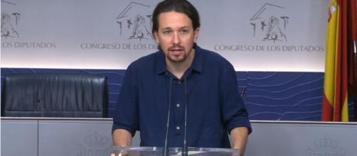 Pablo Iglesias en rueda de prensa. Fuente: @ahorapodemos