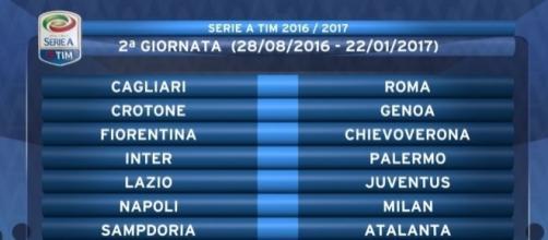 Serie A, calendario della 2ª giornata