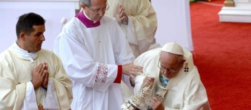 El Papa Francisco, durante la misa en Cracovia