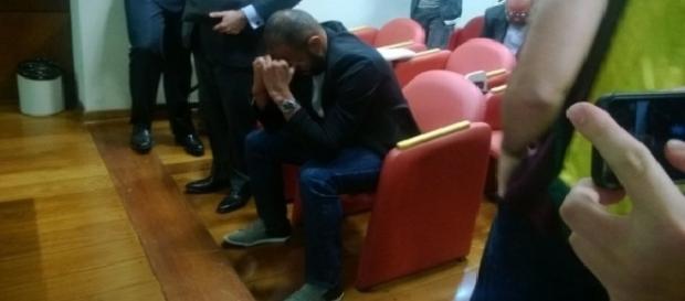 Alecsandro durante julgamento do caso de doping no Tribunal de Justiça Desportiva (Foto: Olga Bagatini)