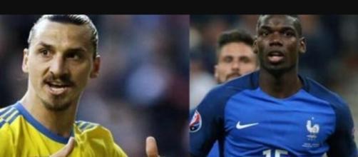 Zlatan Ibrahimović e Paul Pogba con la divisa delle rispettive nazionali.